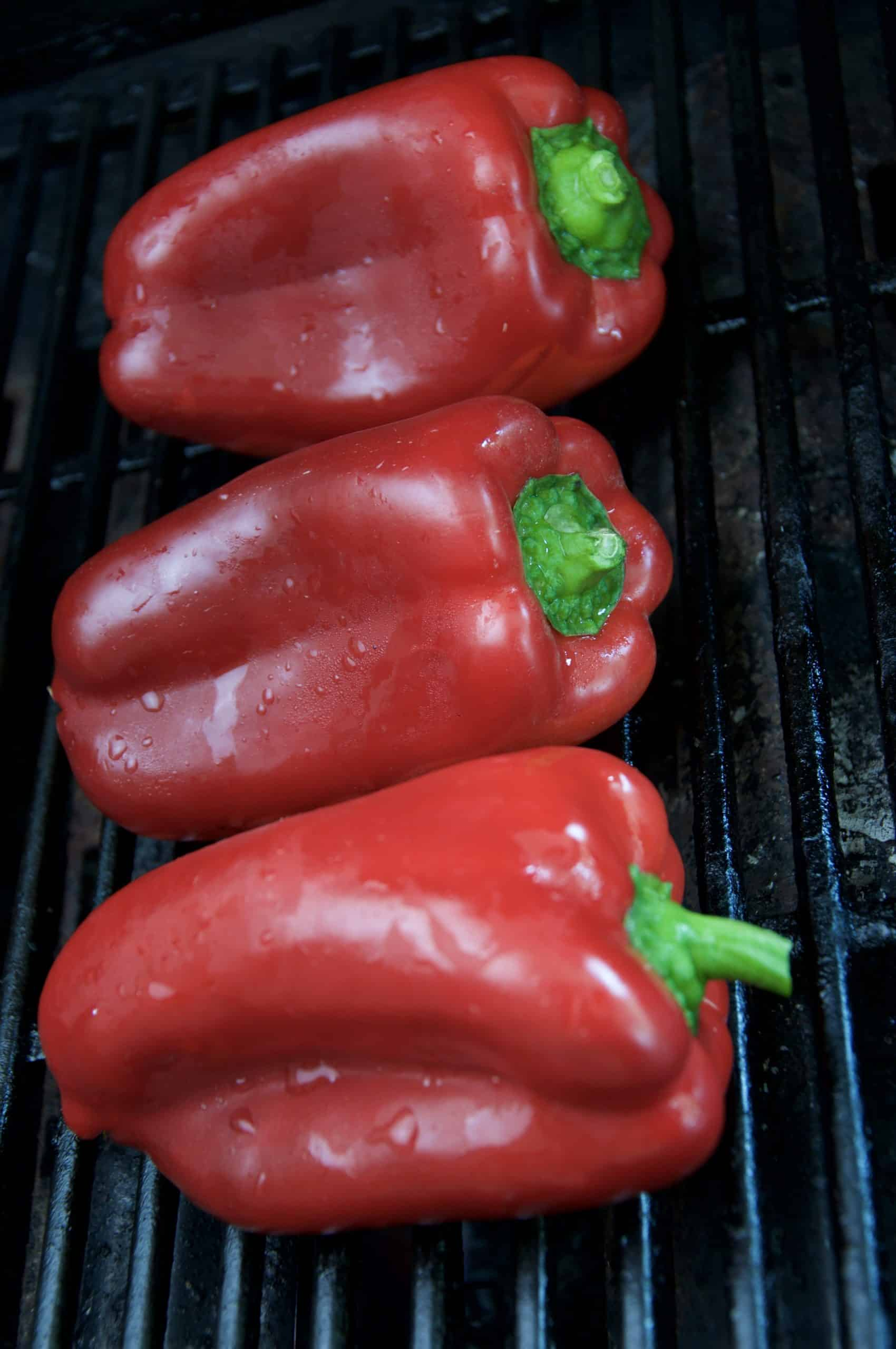 red bell pepper on chargrill