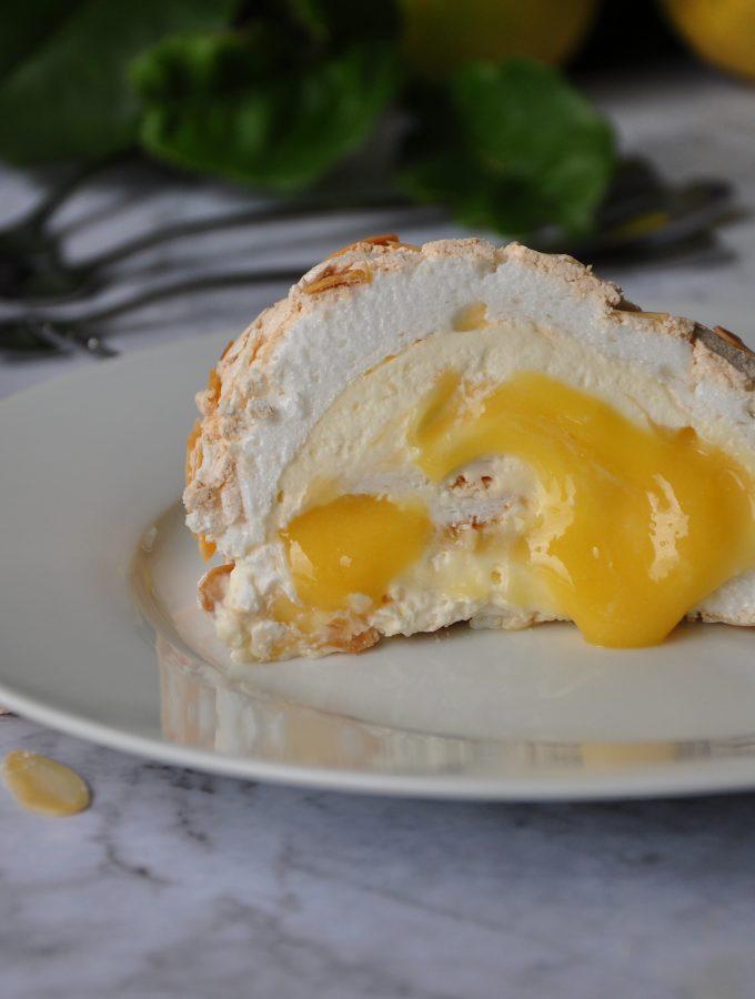 Lemon Curd and Almond Rolled Pavlova