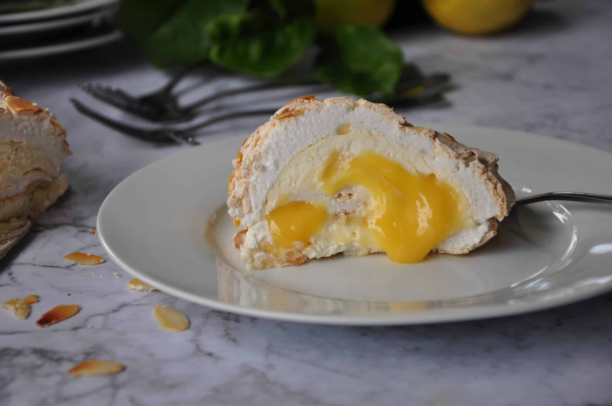Lemon Curd and Almond Rolled Pavlova