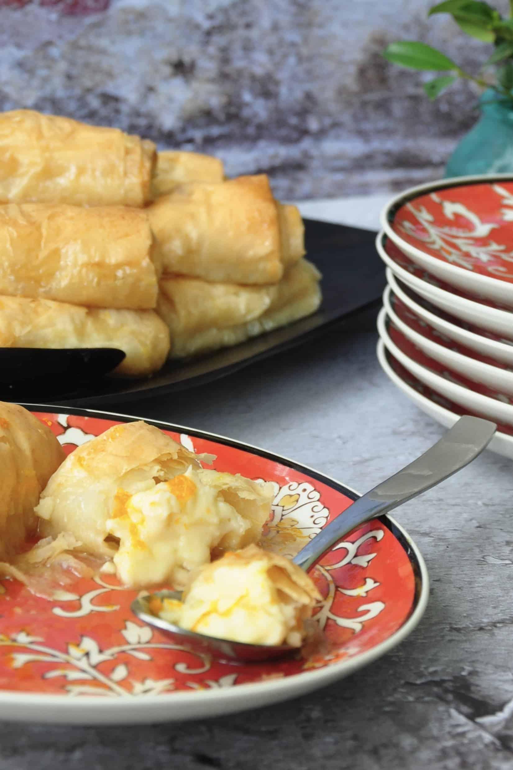 Greek orange custard filo rolls - Galaktoboureko