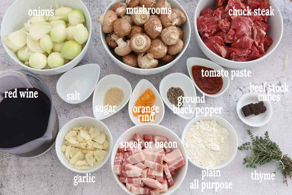 ingredients for Cheats Rich Beef Bourguignon - Beef Mushroom and Red Wine Casserole