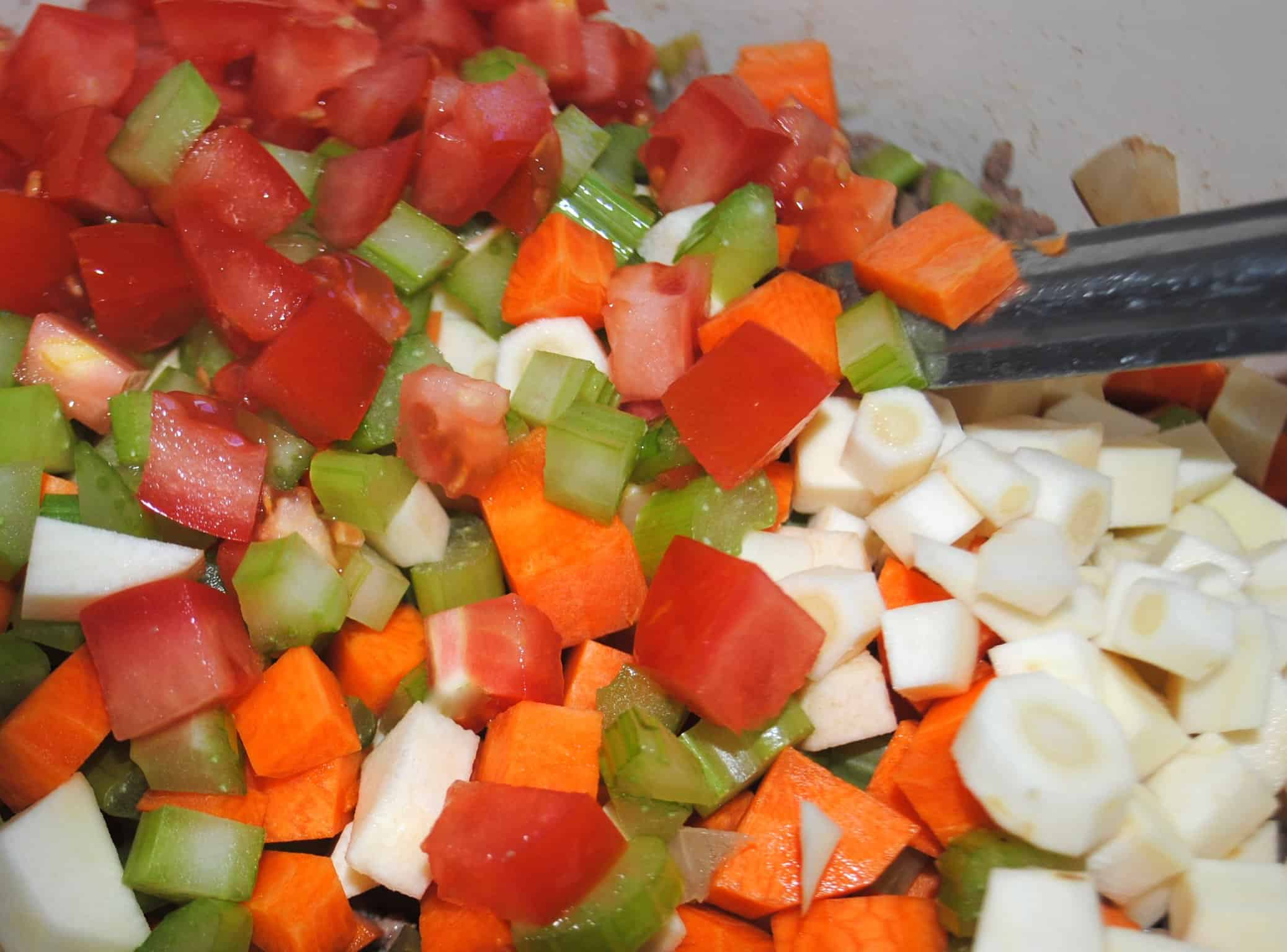 Shepherds pie - adding the vegetables