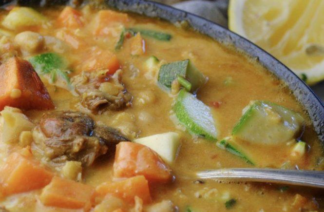Harira soup - spicy lamb, lentil and vegetable soup. GF