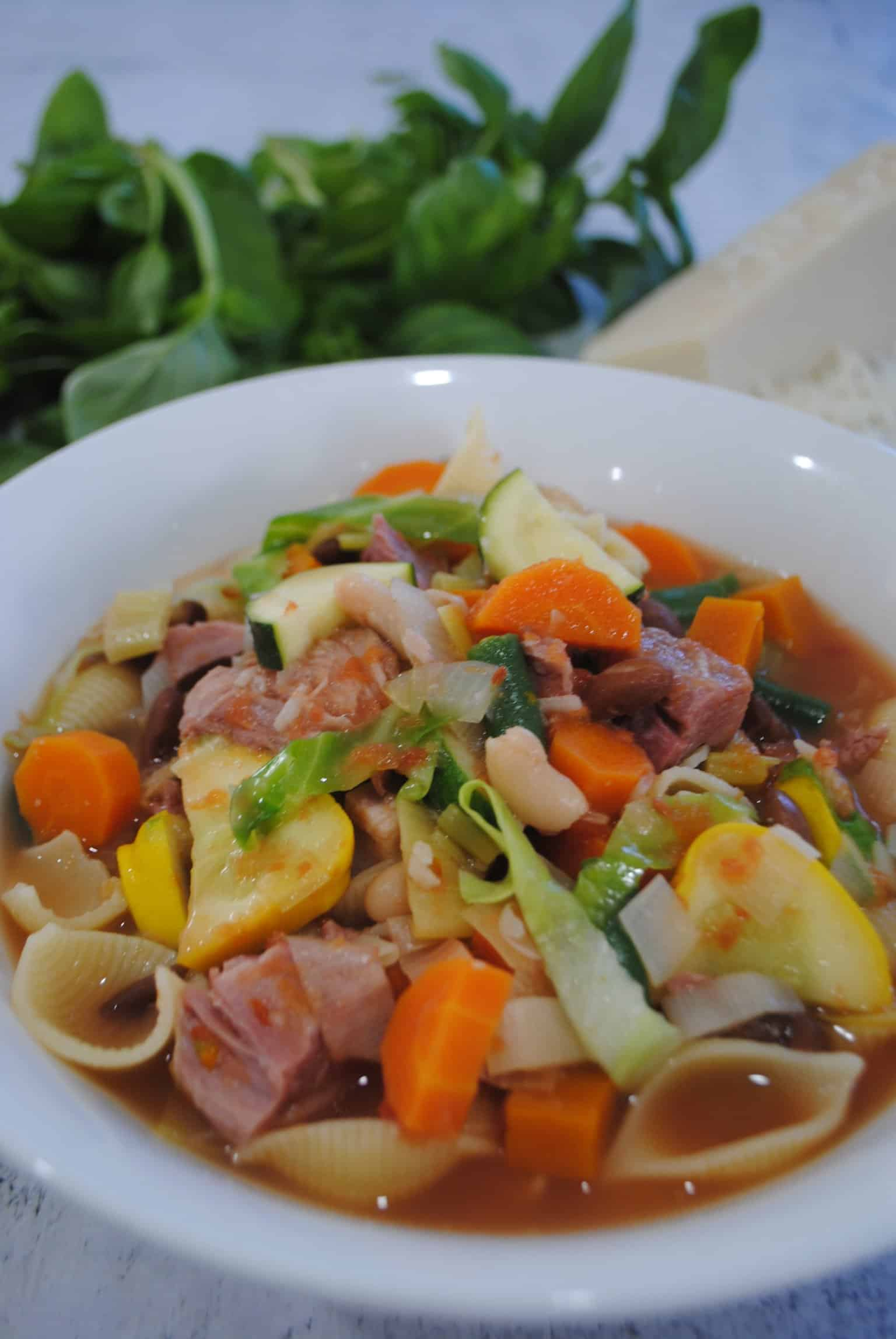 minestrone with ham and pesto soup after adding the pasta