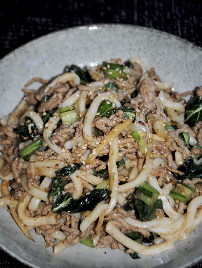 stir fried pork and sesame udon noodles
