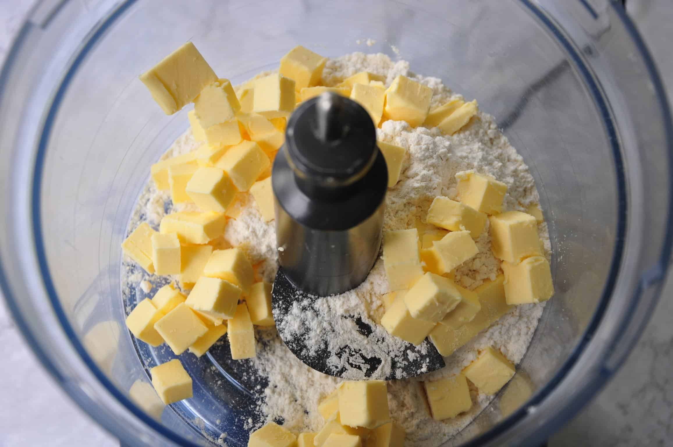 beef bourguignon pie flour and butter in food processor ready to make pastry