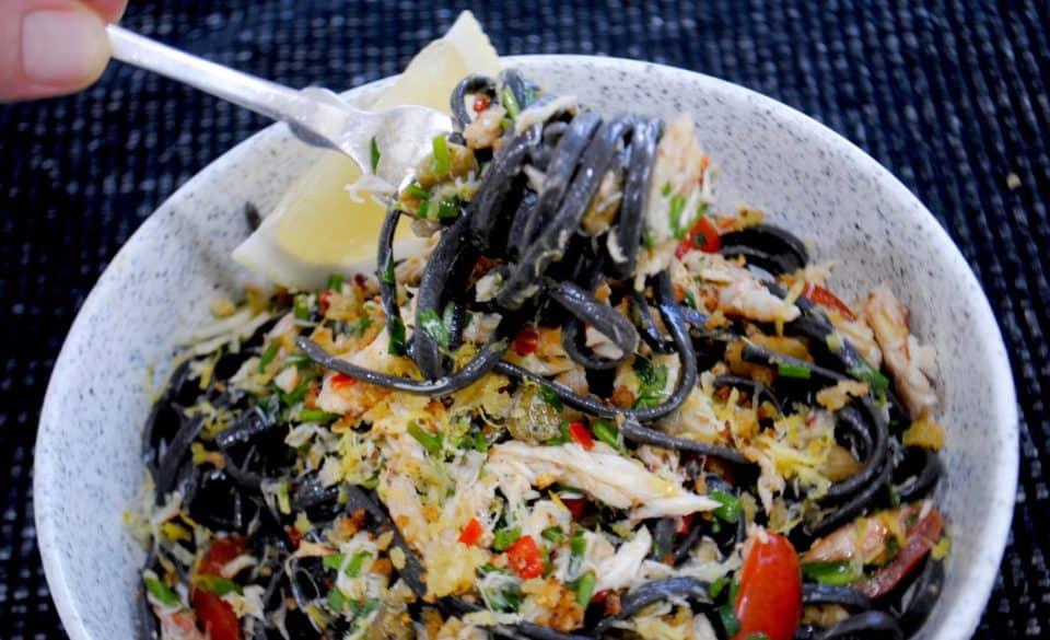easy chilli crab linguine - quick spicy