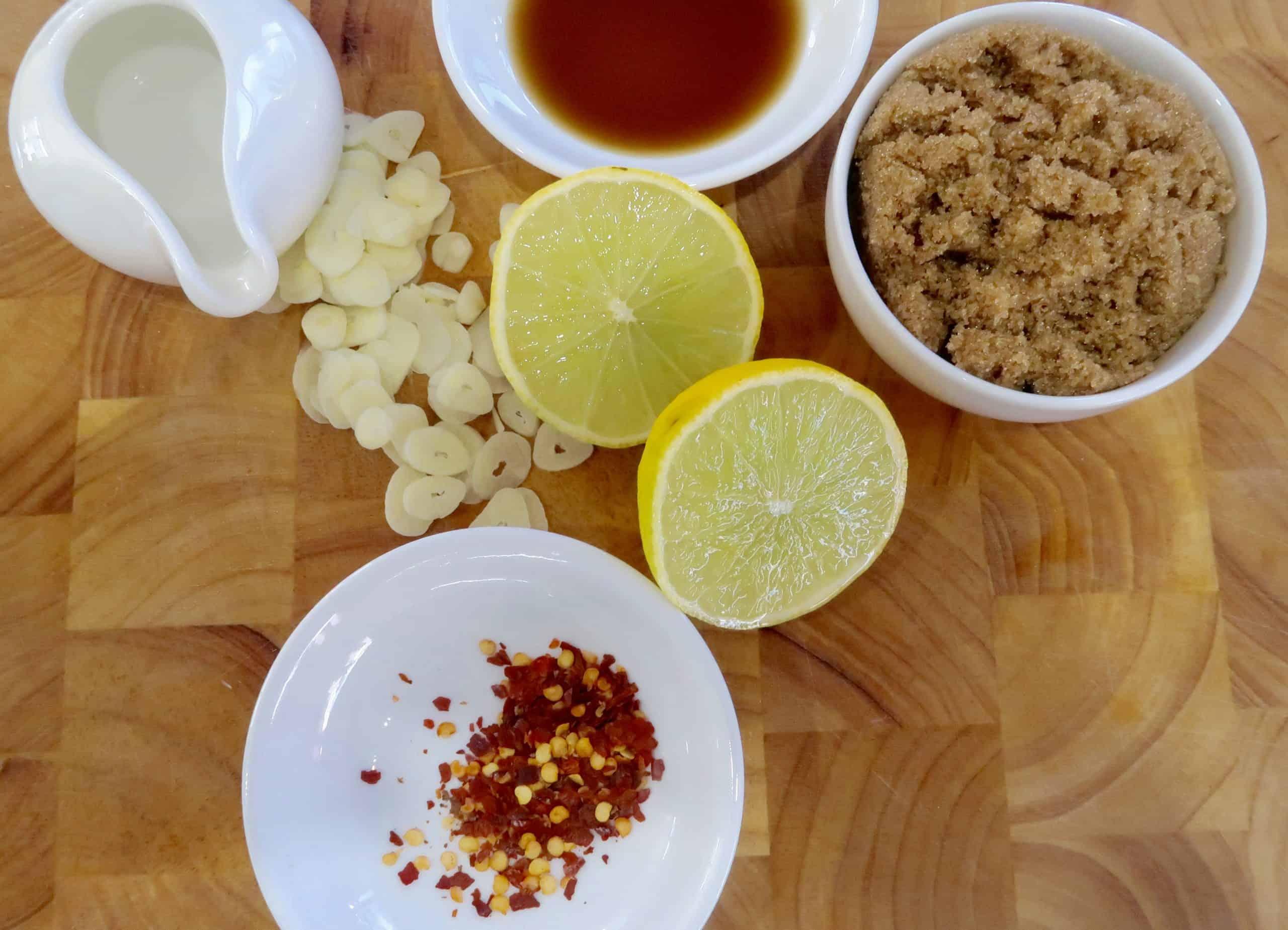 chilli caramel salmon salad ingredients for making chill caramel sauce