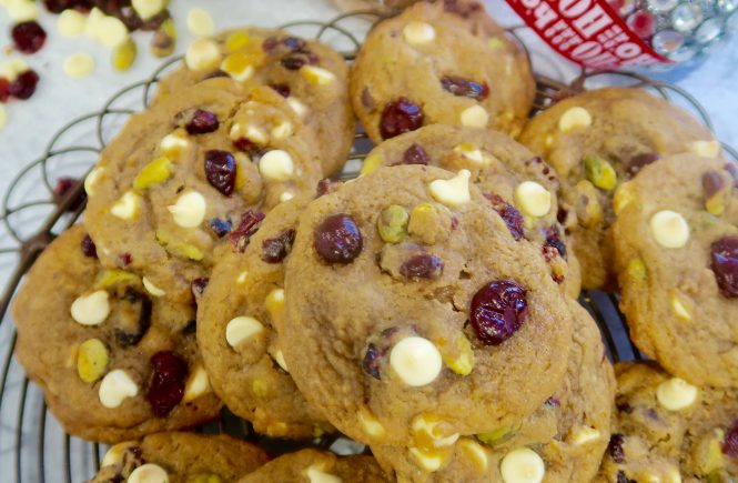 cranberry white chocolate and pistachio cookies