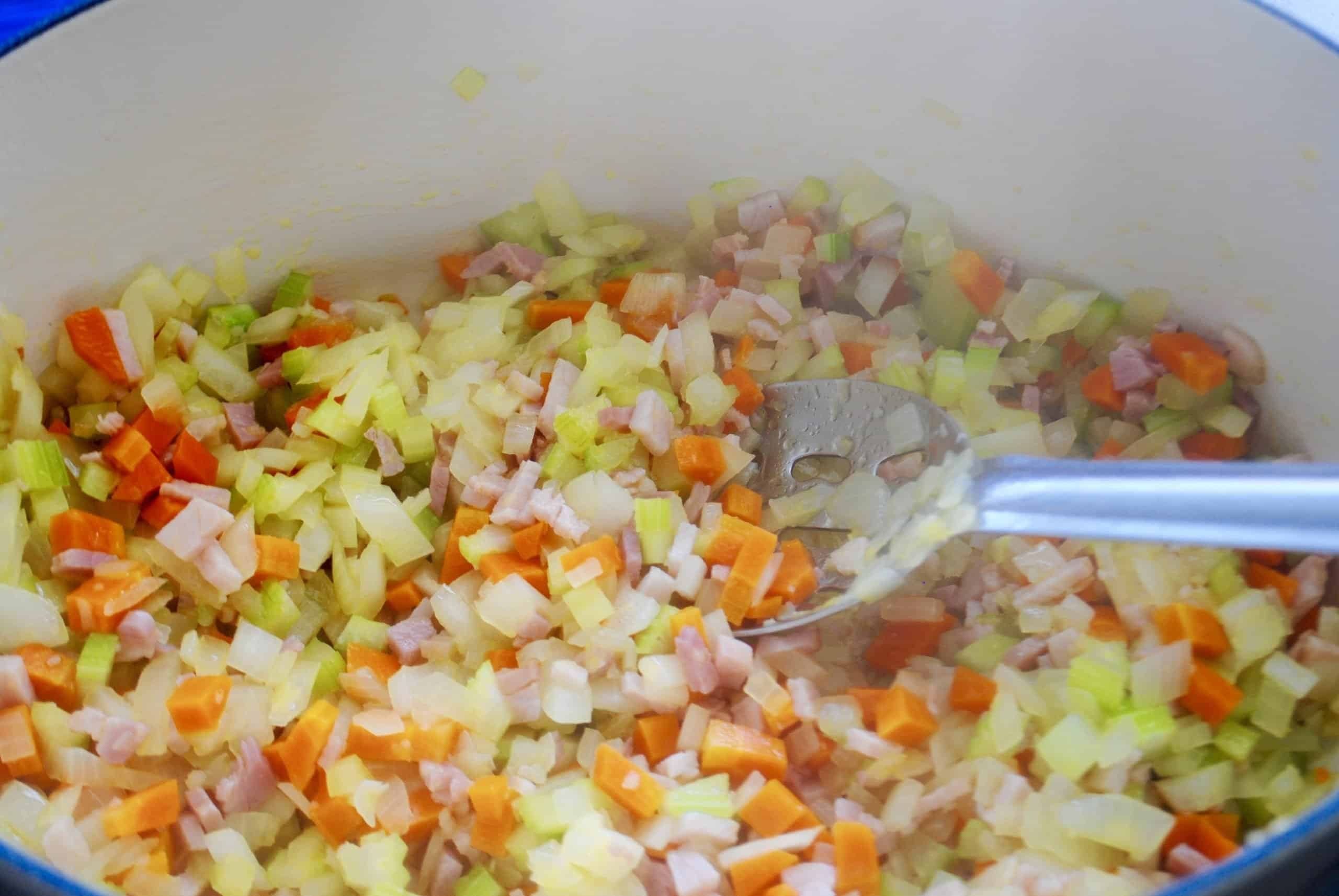 easy bolognese sauce sauteeing of vegetables till softened