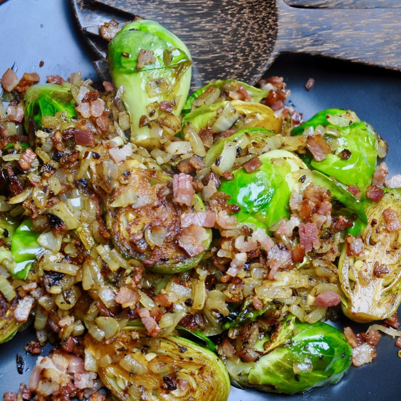 brussel sprouts sauteed with bacon, onion and garlic