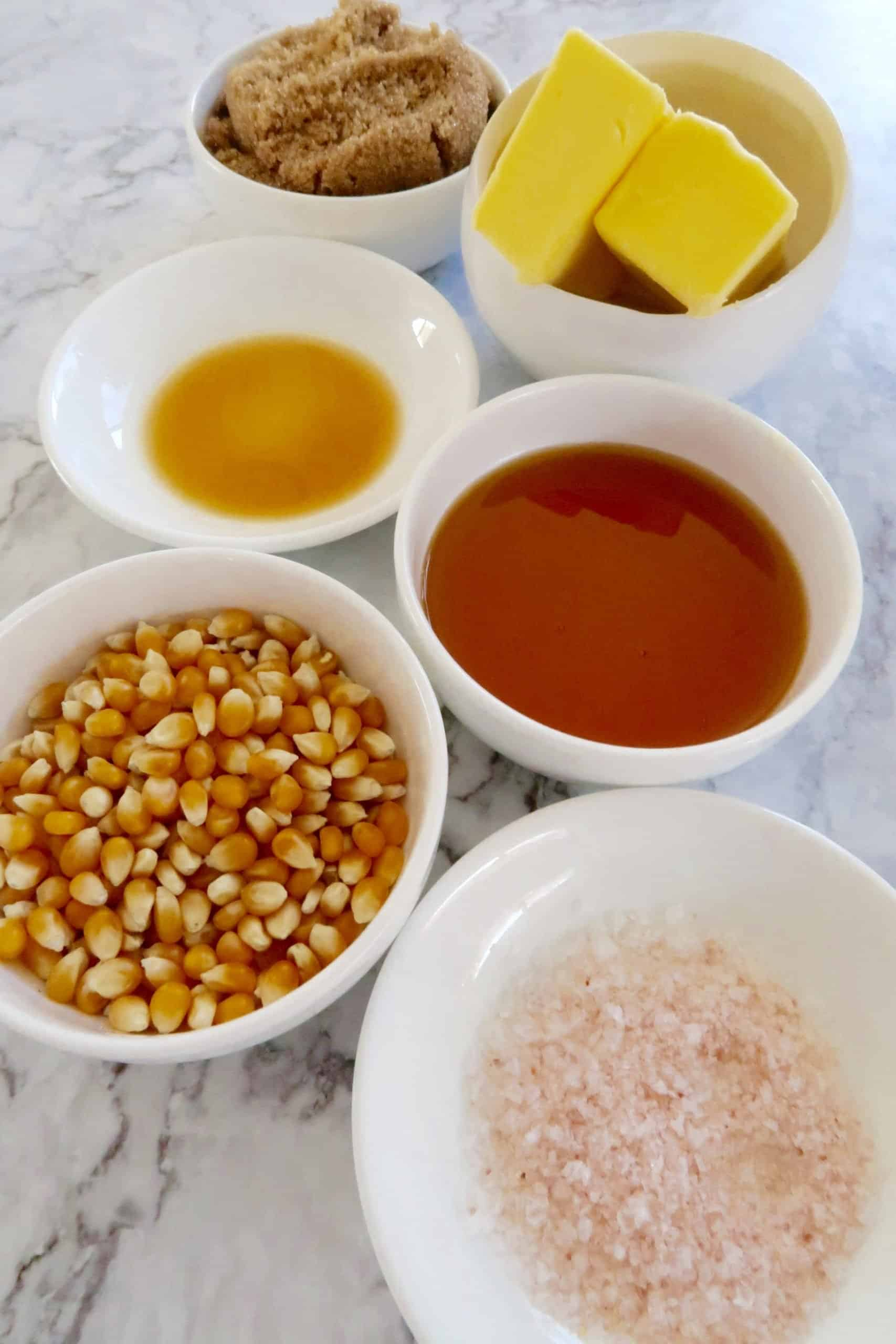 salted caramel popcorn ingredients laid out ready to make