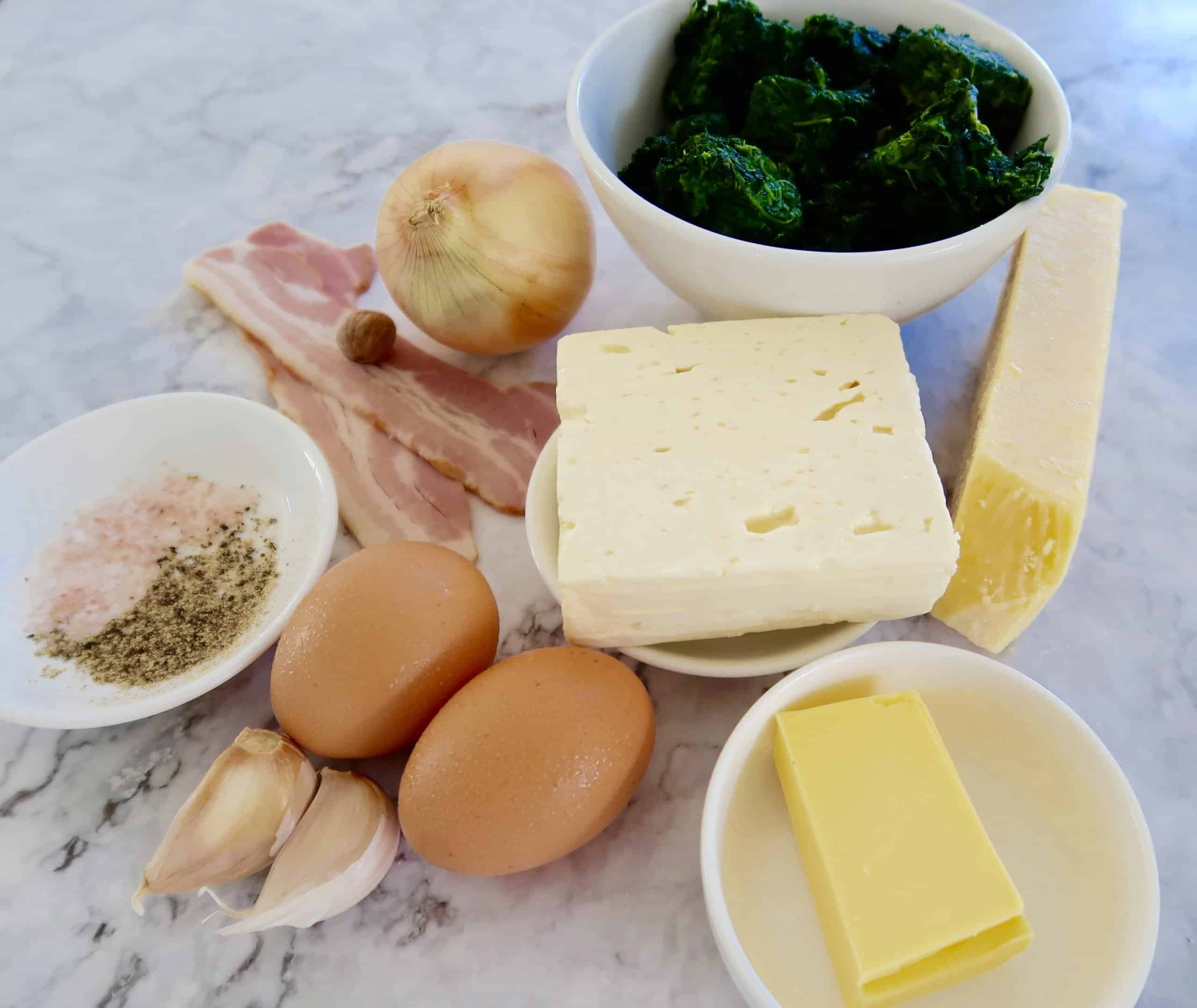 cheese spinach and bacon puffs ingredients prepared ready to make
