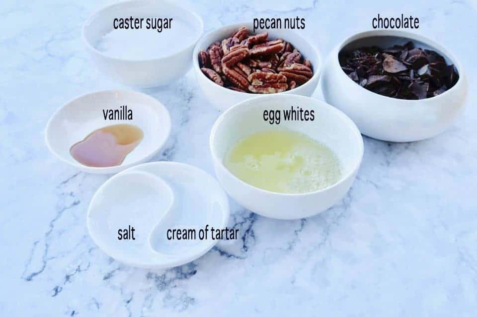 ingredients to make Forgotten Meringue Cookies