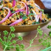 Spicy Red Lentils with Capers and Currants