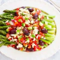 asparagus with greek salad medley