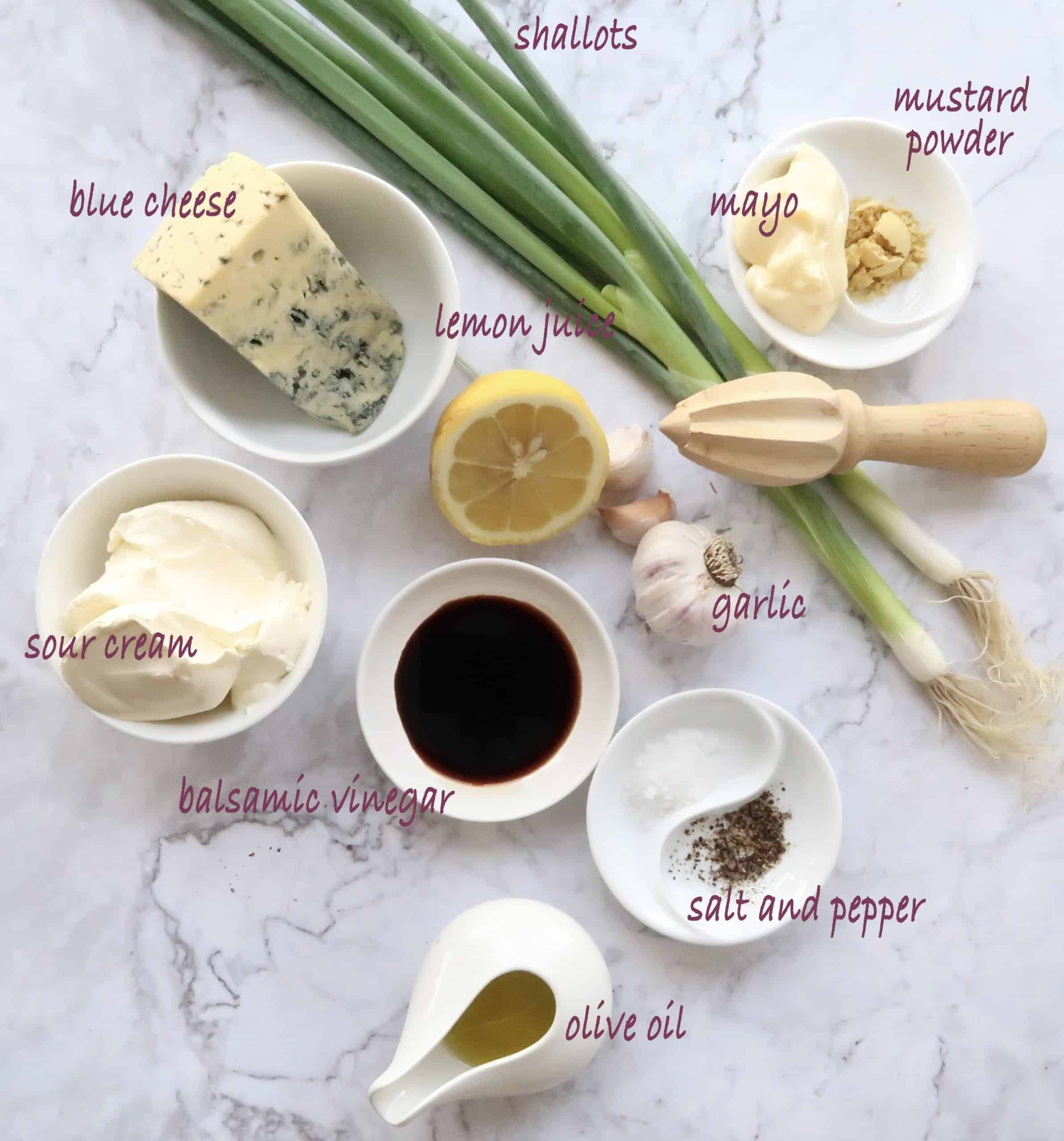 ingredients for homemade blue cheese dressing