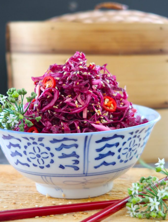 Chinese pickled red cabbage with ginger