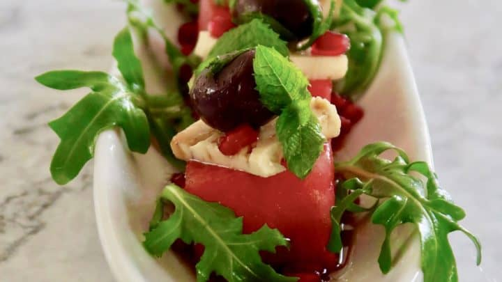 Watermelon, Feta, Mint and Olive Stacks
