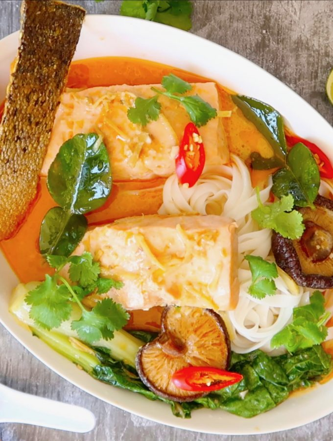 Thai salmon and coconut noodle soup