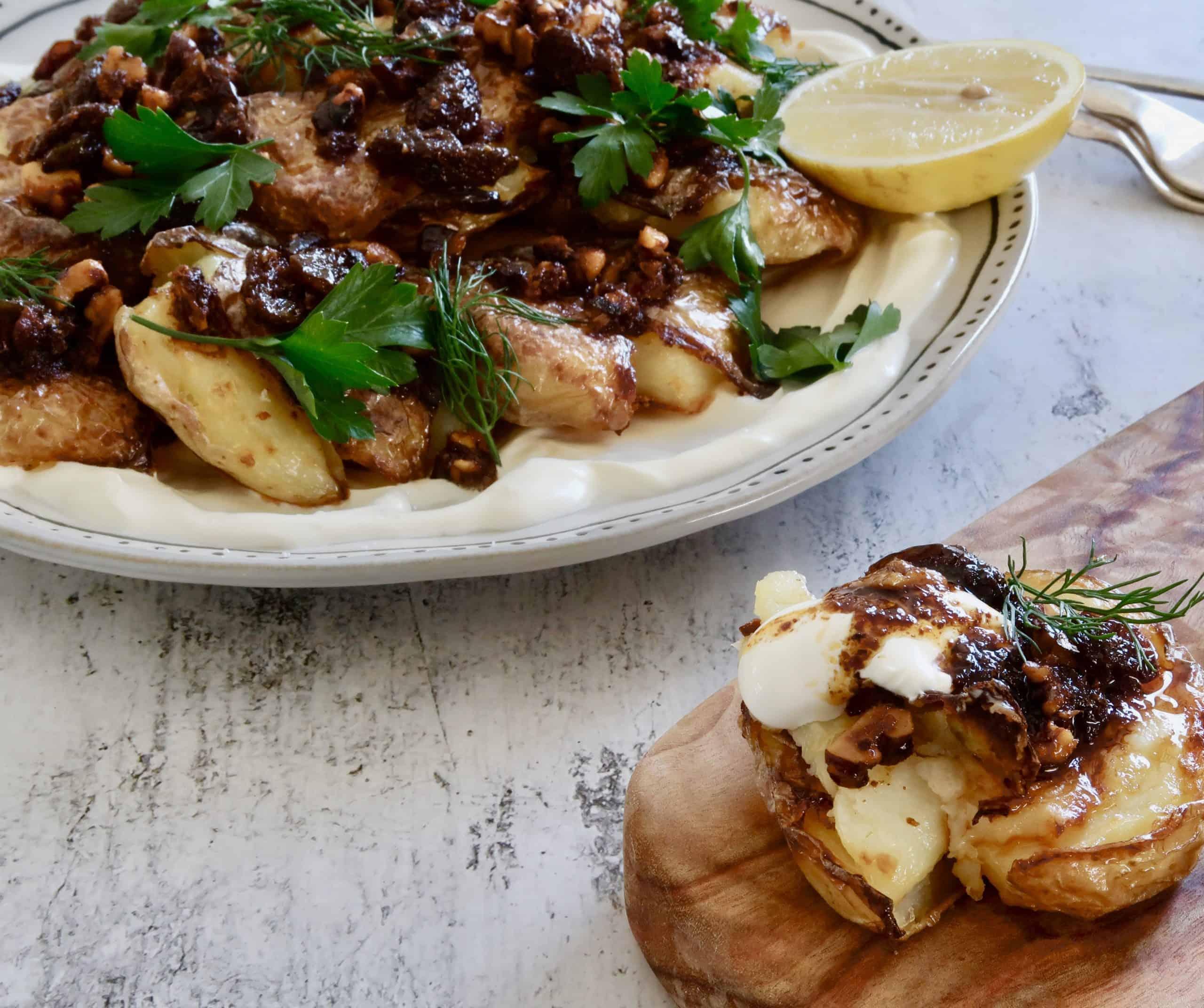 crispy smashed potatoes with walnut chilli dressing