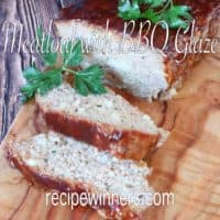 Meatloaf with BBQ Glaze on a wooden chopping board