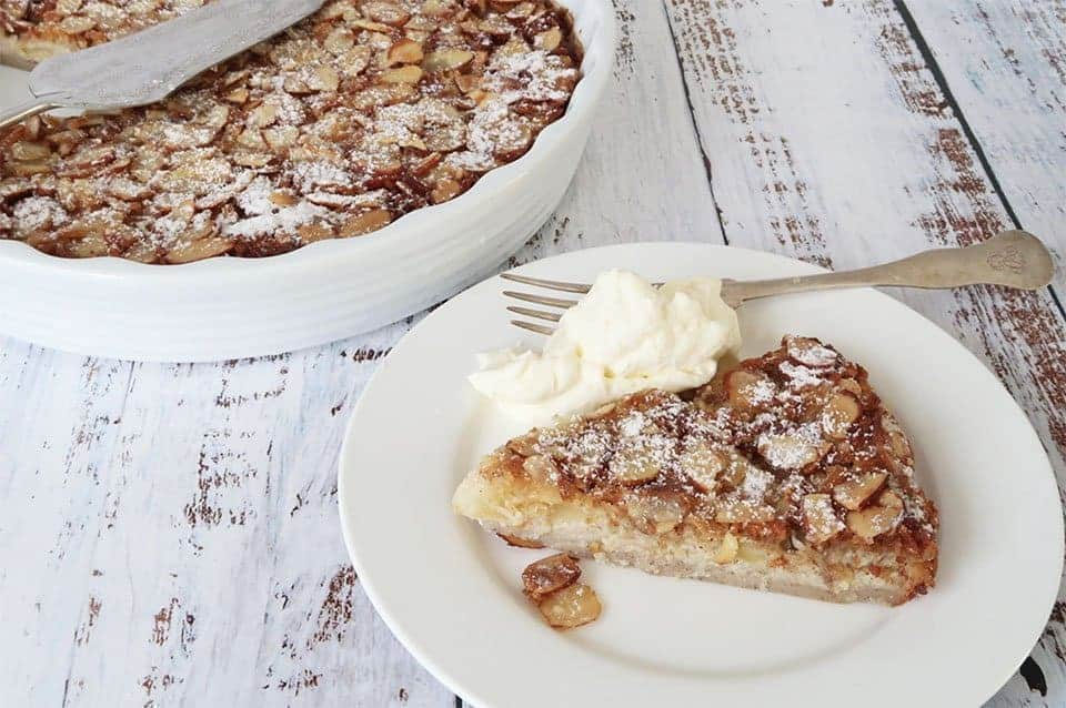 Easy Pear and Almond Impossible Pie as part of our warm and cosy desserts collection
