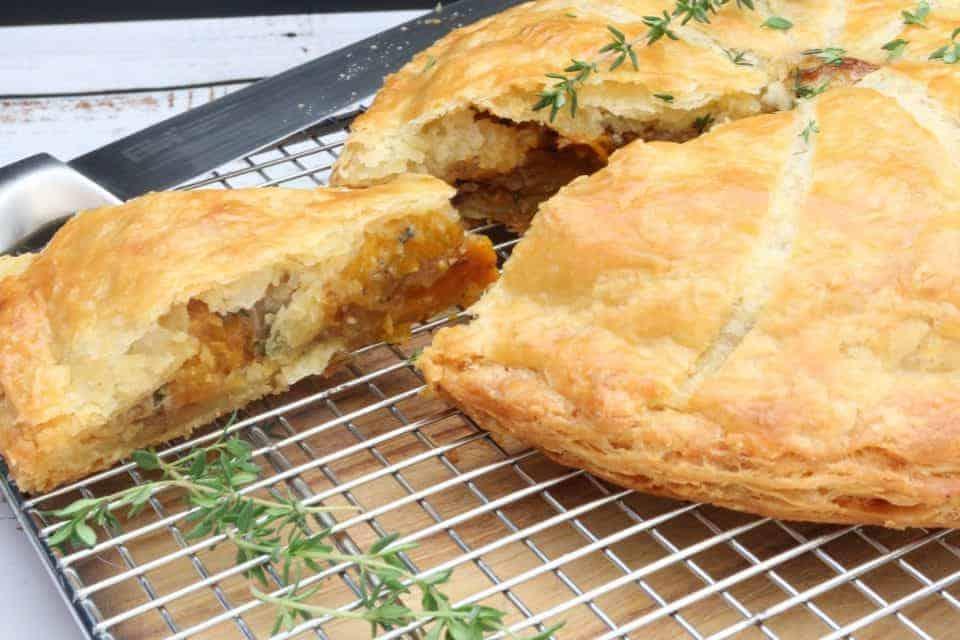 Pumpkin, Blue Cheese and Pine Nut Pie