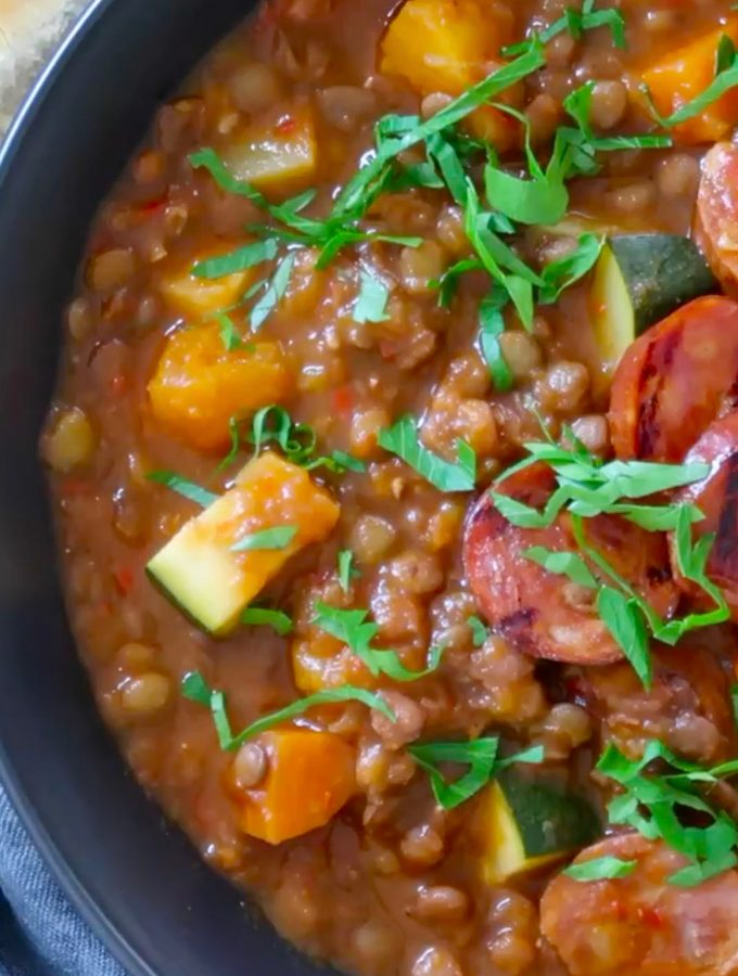 lentil, chorizo and vegetable soup