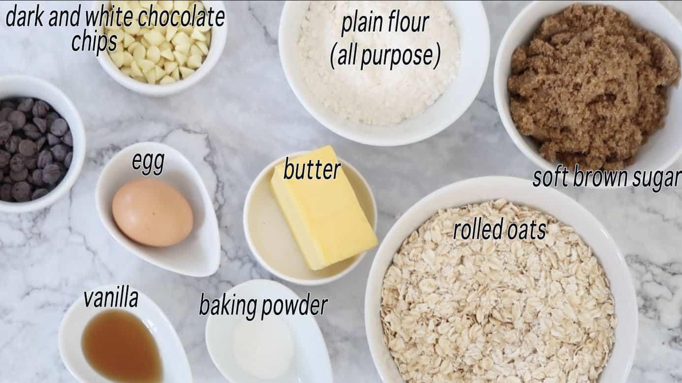 chocolate oatmeal cookies ingredients ready to prepare