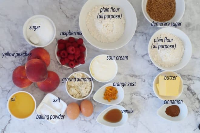 peach and raspberry streusel cake ingredients ready to prepare cake
