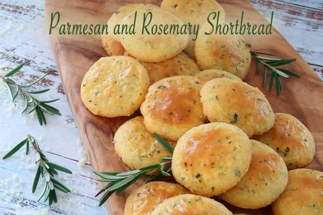 Parmesan and Rosemary Shortbread n a timber chopping board