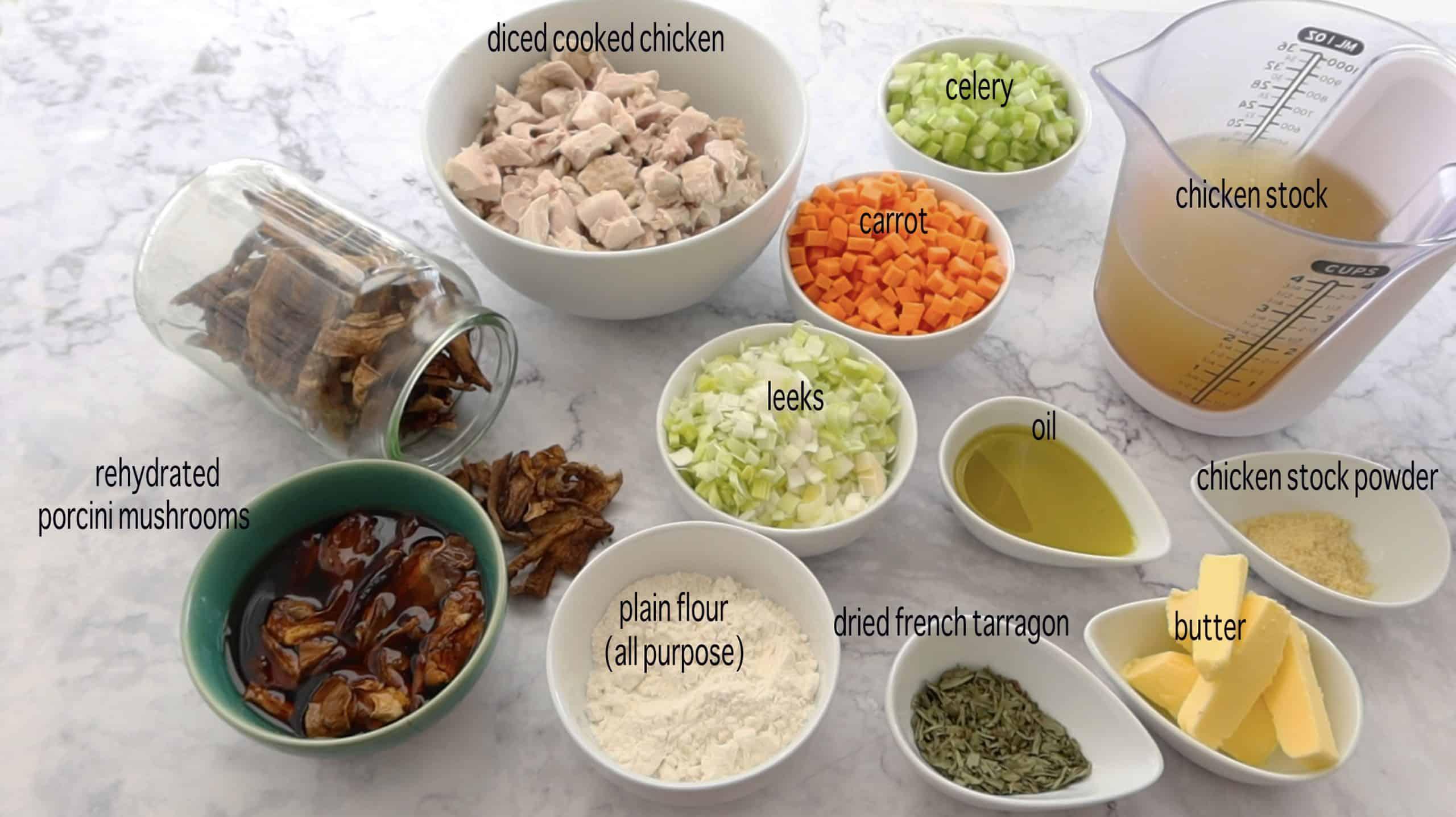 ingredients for chicken, leek and mushroom pie