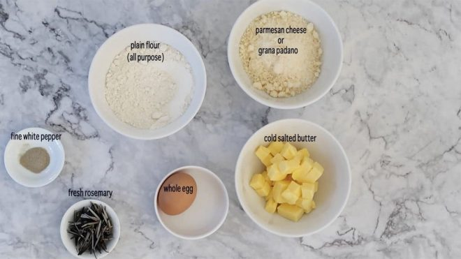 ingredients for parmesan and rosemary shortbread