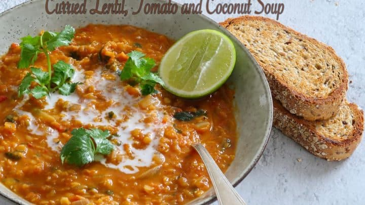 Curried Lentil Tomato and Coconut Soup