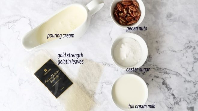 ingredients for salted caramel panna cotta with praline in white bowls