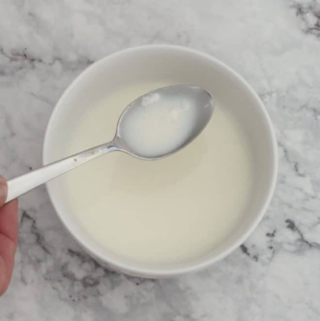 making butter milk for banana and pecan bread