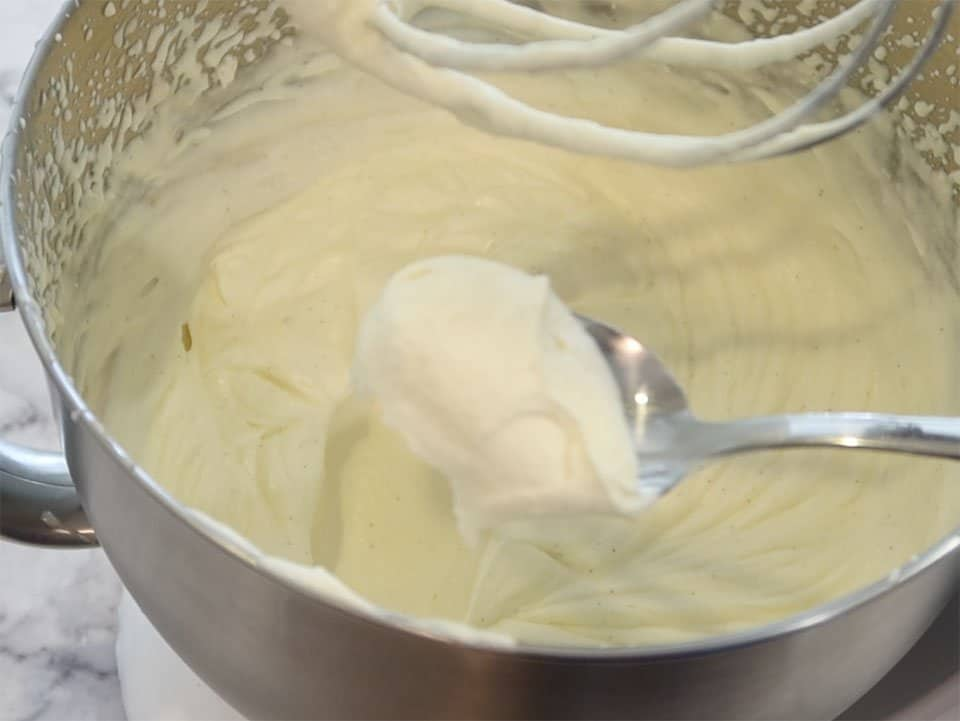 No Churn Vanilla Bean Ice cream ready to pour into ice cream container for freezing