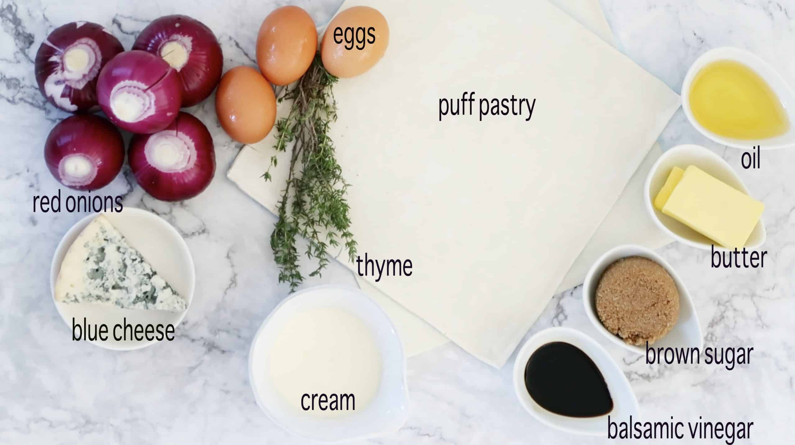 ingredients for Caramelised Onion and Blue Cheese Mini Quiche