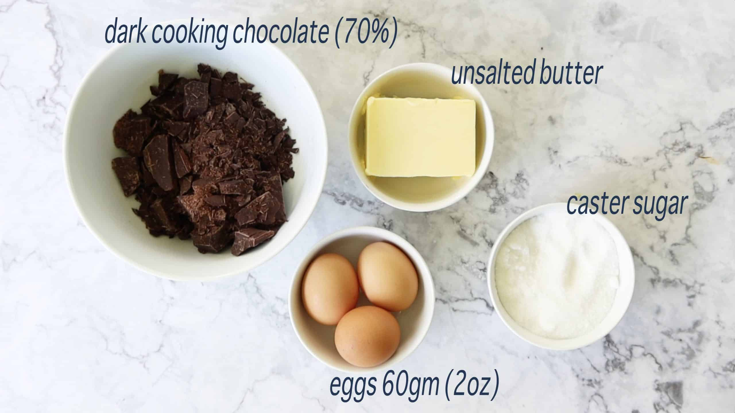 ingredients for chocolate nemesis cake - river cottage