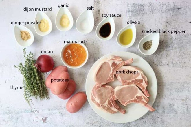 traybake pork chops with potatoes ingredients ready to prepare