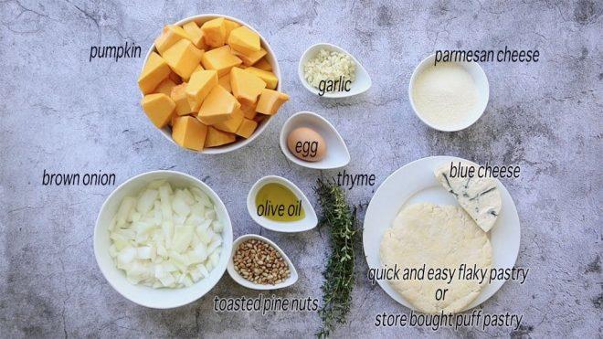 ingredients to make Pumpkin, Blue Cheese and Pine Nut Pie