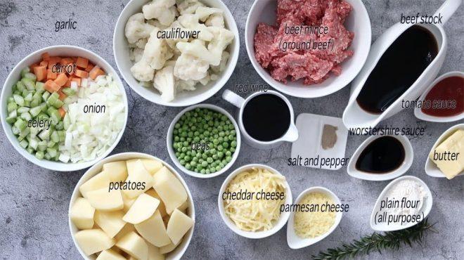 Ingredients to make Cottage Pie with Cauliflower Cheese Mash