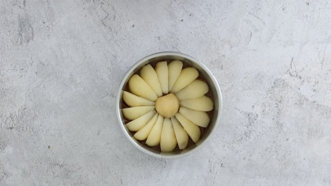 pear and ginger upside down cake pears in a concentric pattern