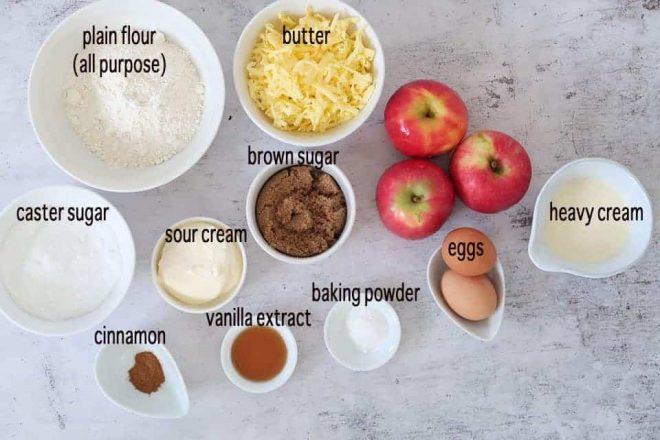 fresh apple crumble cake ingredients ready to prepare