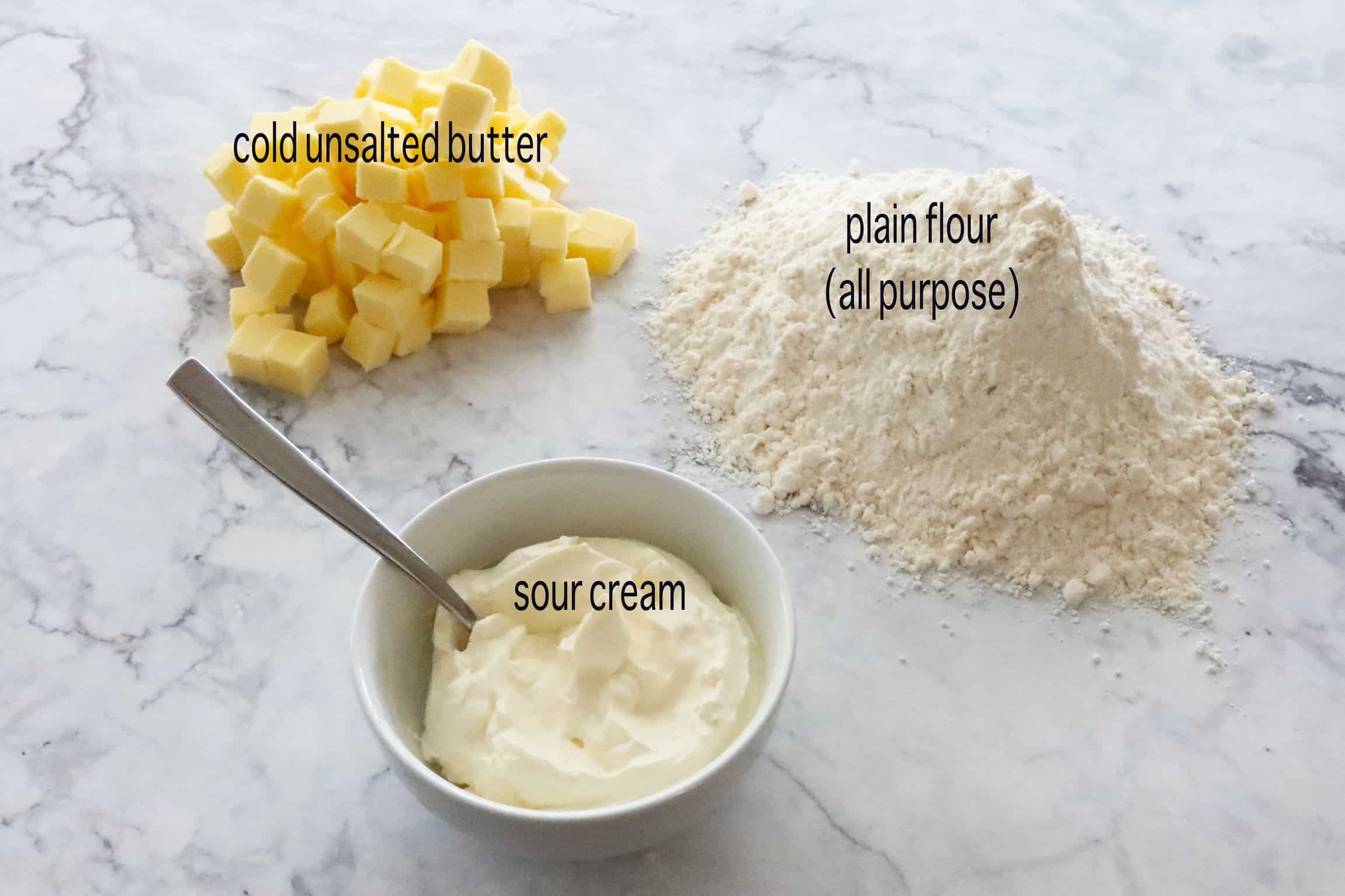 2 minute sour cream pastry ingredients on a marble bench
