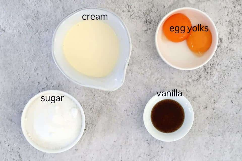 ingredients to make Super Simple Creme Anglaise on a concrete bench
