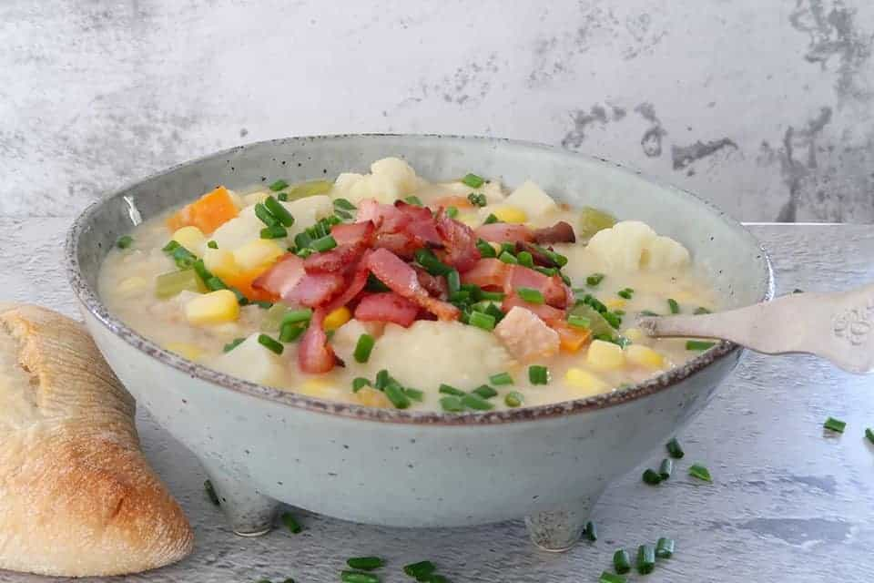 a bowl of Cauliflower and bacon chowder