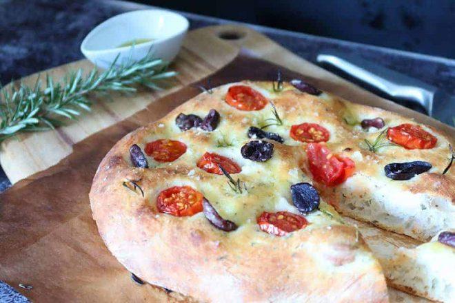 Tomato, Olive and Garlic Focaccia