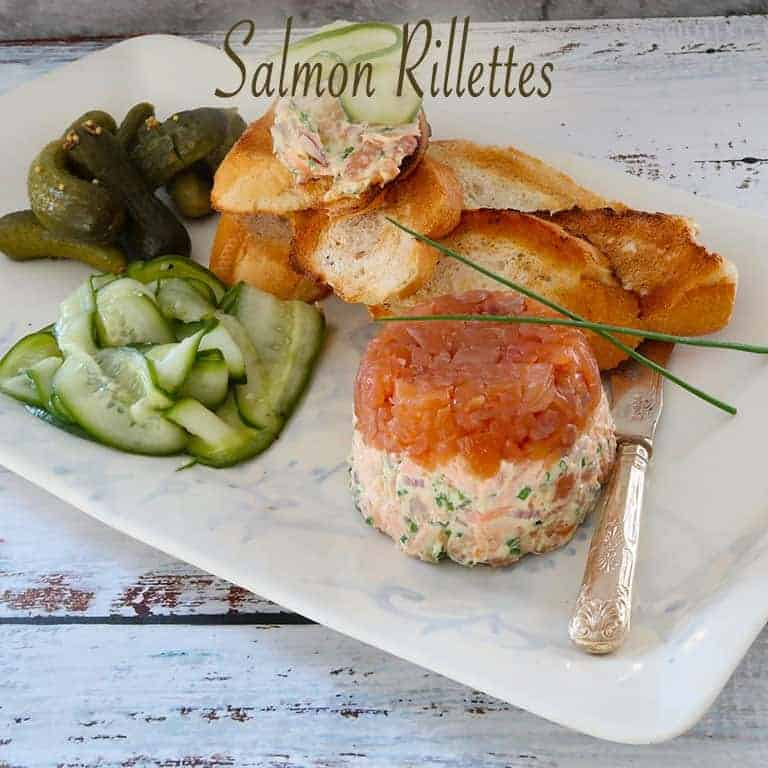 Salmon Rillettes on a white plate with a blue background